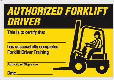 Skilled forklift operators wallet card