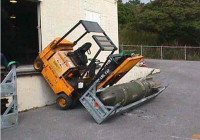 Forklift accident, forklift over turning